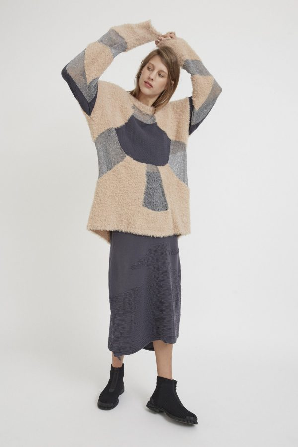 Loose-fitting textured semitransparent sweater with a panel design